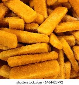 Food photo frozen fish sticks. Image texture product fresh fish stick. Chicken stick finger image