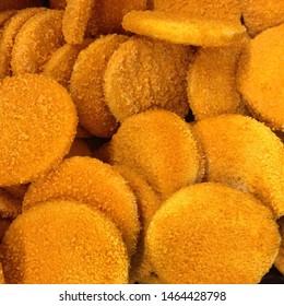 Food photo frozen fish sticks. Image texture product fresh fish stick. Chicken round stick finger image