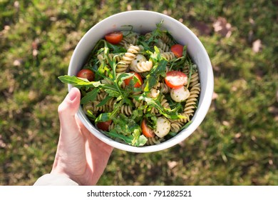 food photo pasta and salat