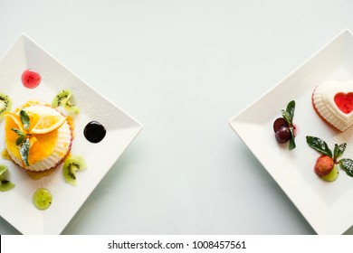 food photography art. gourmet restaurant dessert on white background concept