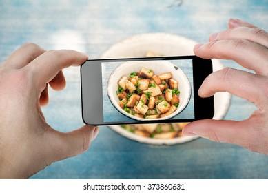 Food photography. Homemade croutons