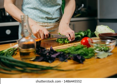 Food photography. Making a vegetable salad