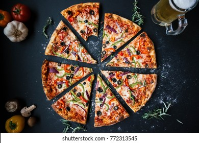food pizza on chalkboard with ingredient