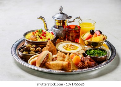 Food platter served during Iftar in the Holy Month of Ramadan