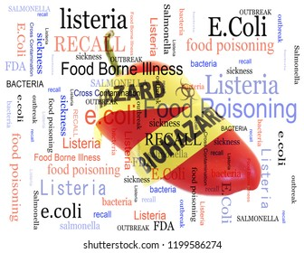 Food poisoning related terms, salmonella, e coli etc, with biohazard pepper in a word cloud