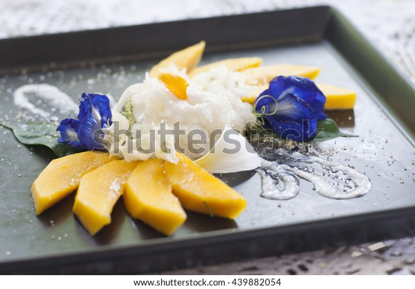Food Presentation Ideas Mango Sticky Rice Stock Photo (Edit