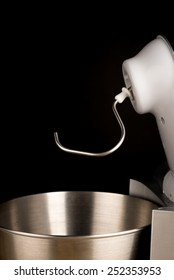 Food processor with a dough hook tool attached