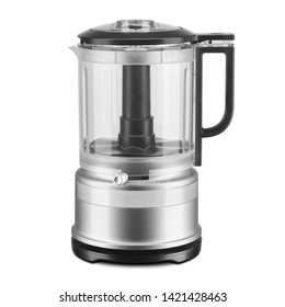 Food Processor Isolated on White Background. Modern Stainless Steel Housing Powerful J5-Cup Food Chopper Machine Front View. Domestic Electric Small Appliances. Kitchen and Tabletop Tools