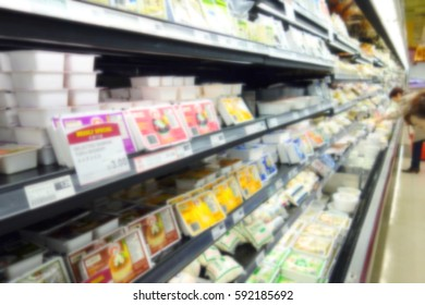Food products on supermarket shelves