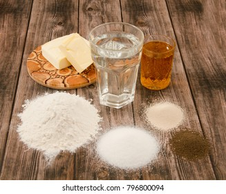 Food products on a wooden background