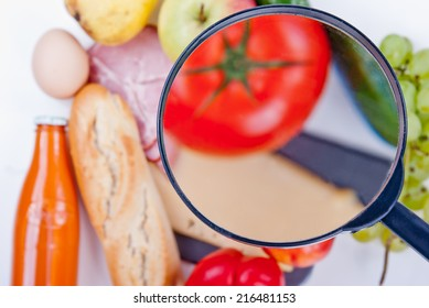 Food products seen through a magnifying glass.