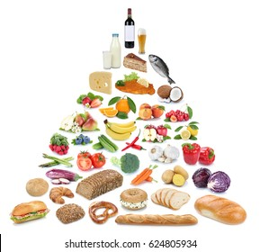 Food pyramid healthy eating fruits and vegetables fruit collection isolated on a white background
