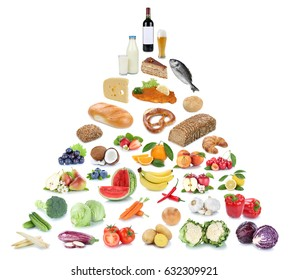 Food pyramid healthy eating fruits and vegetables fruit collage isolated on a white background