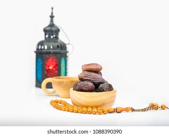 food of ramadan kareem night composed of sweet dried fruits on white background,  vegetable for diet with nutrition ingredient concept.