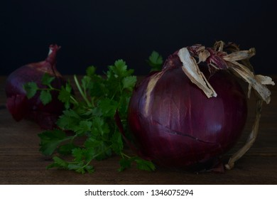 Food red onion and parsley