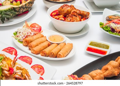 Food and restaurant chicken soup,fried spring roll and Thailand food style