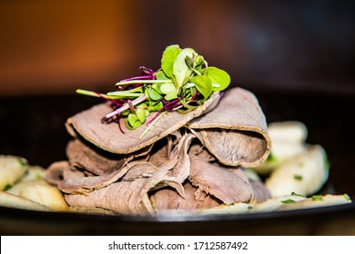 The food in the restaurant. Food styling and restaurant meal serving. Gourmet restaurant menu concept. Creative stylist restaurant