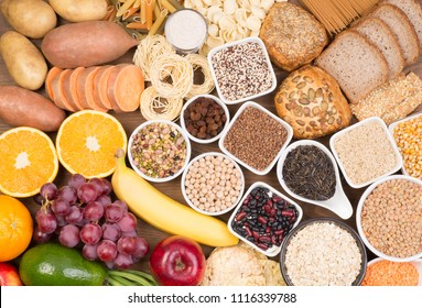 Food rich in carbohydrates, top view