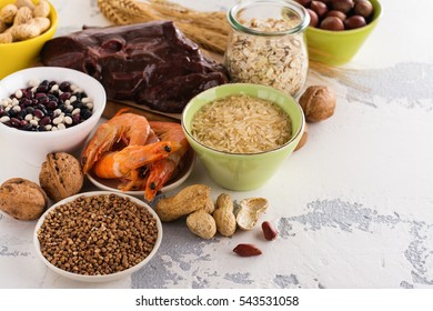 Food rich of copper (Cu). Healthy diet for high hemoglobin, against varicose and anemia. Top view