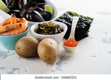 Food rich of iodine. Natural sources - mussels, baked potato, shrimps, red caviar, seaweed. Space for text