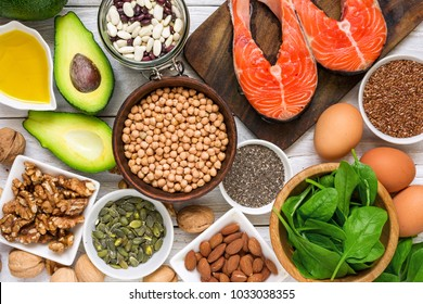 Food rich in omega 3 fatty acid and healthy fats. Healthy diet eating concept. top view