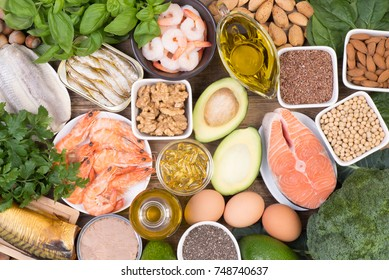 Food rich in Omega 3 fatty acids, top view