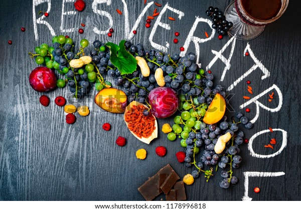 Food Rich Resveratrol Grapes Plums Goji Stock Photo Edit Now