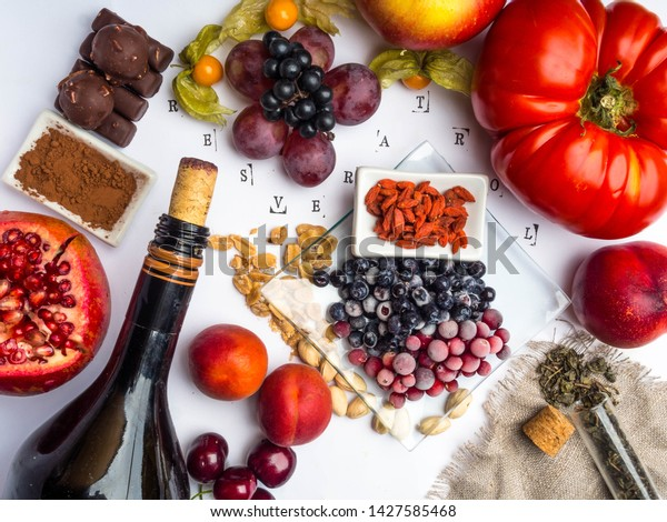 Food Rich Resveratrol Grapes Pomegranate Green Stock Photo Edit