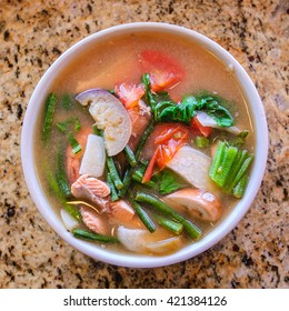 Food - Salmon Sour Soup, Filipino 'Sinigang'