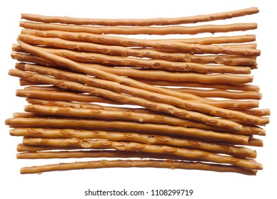 Food: salted bread sticks, isolated on white background