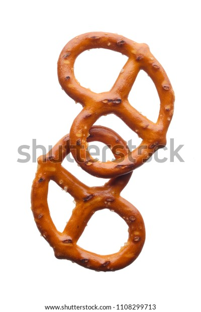 Food: salted pretzels, isolated on white background