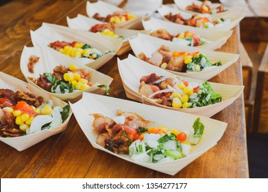 Food samples at culinary festival