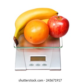 food scale with fruits apple banana and orange isolated on white background
