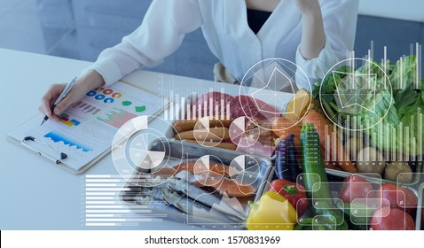 Food and science concept. Dietitian. Nutrition.