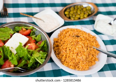 Food selection  in local restaurant in Larnaca. Traditional cypriot meze food on Cyprus island.
