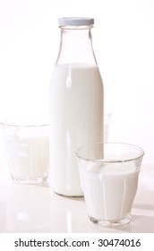 food series: bottle and glass full of milk