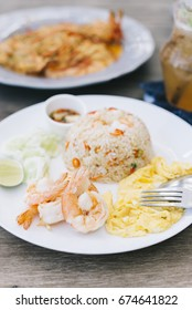 Food series: Fried rice with prawns and omelet
