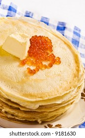 food series: red caviar with butter and pancake