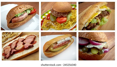 Food set of different   American   Sandwich . collage