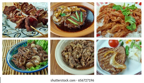 Food set of different  beef  meat . collage