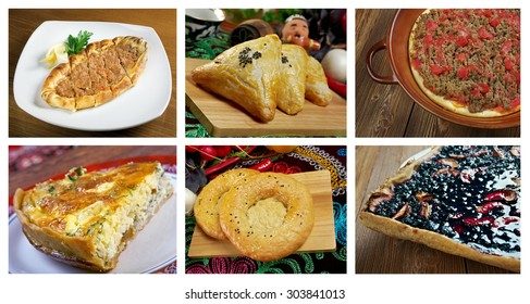 Food set different  pastry. collage