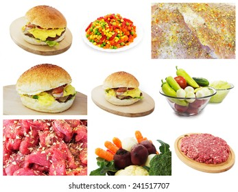 Food Set of Different Raw Meats and Vegetables. Isolated on a White Background.