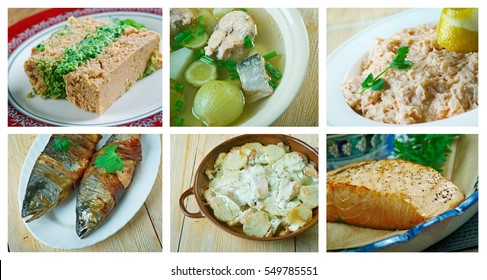 Food set of different  salmon . collage