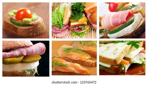 Food set of different    Sandwich . collage