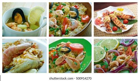 Food set of different  shrimps. collage