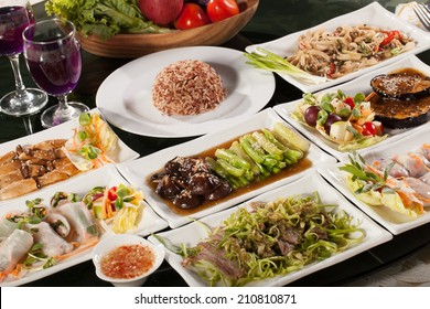 food set, round table full with many vegetarian Thai food with rice for diet