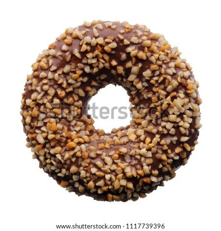Food: single chocolate and crushed nuts donut, isolated on white background