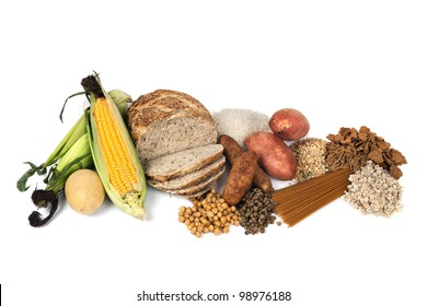 Food sources of complex carbohydrates, isolated on white background.