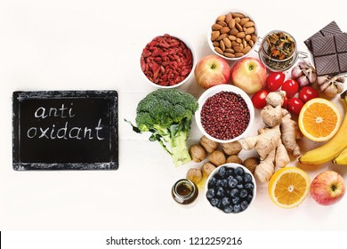 Food sources of natural antioxidants. Flat lay, Healthy diet concept