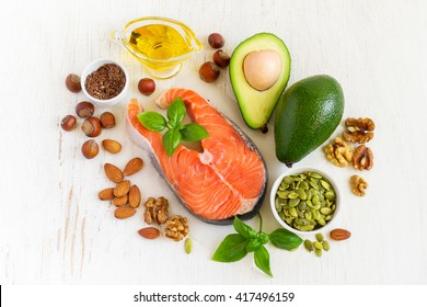 Food sources of omega 3 and healthy fats, top view
